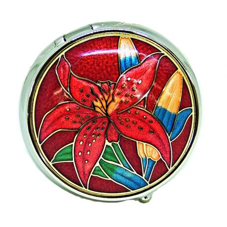 decorative pill box | metal pillbox | cloisonne round shaped pill box