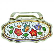 lipstick holder with mirror for purse, cloisonne lipstick accessory with mirror for purse