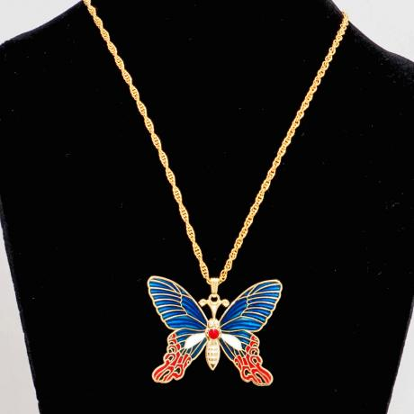 enamel charm necklace, cloisonne butterfly necklace