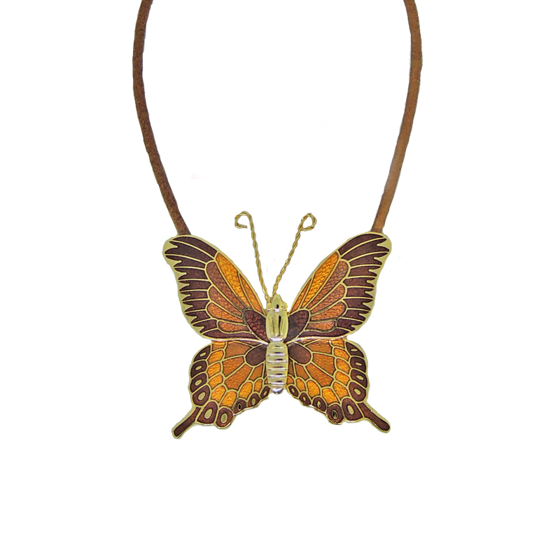 colorfast enamel butterfly necklace